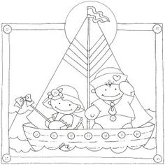 Sailing boat On Mundo Encantado do Artesanato Baby Coloring Pages, Coloring Books, Colouring, Felt Patterns, Craft Patterns, Baby Embroidery, Embroidery Patterns, Colorful Drawings, Colorful Pictures