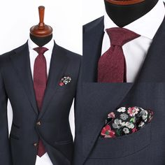 The Lecce dark blue stone jacket over the Shifting burgundy blend tie and Herringbone white cutaway shirt. The floral pocket square will be available soon. www.Grandfrank.com