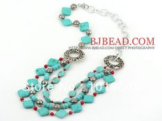Hot Selling Fashion long  red coral turquoise women necklace with metal chain Free shipping
