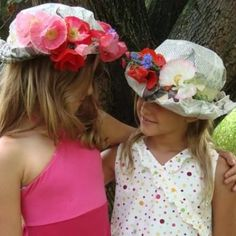 May Day Flower hats using newspapers