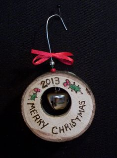 tree slice 2013 Christmas ornament wood burned by constersue, $5.00