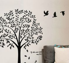 wall decoration stickers -YYone Tree of Life Wall Decal Stickers Flying Birds Wall Decals Removable Black Tree With Birds Tree Mural
