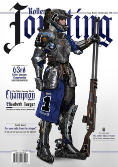 """wearepaladin: """"Roller Jousting by Johnson Ting """" What a cool concept, and a cool mashup of armor styles! Even though it's medieval breastplates with modern helmets, it still looks good and cohesive. Character Concept, Character Art, Character Design, Character Inspiration, Armor Concept, Concept Art, Cyberpunk, Knight Drawing, Steampunk"""