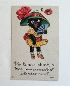 Vintage Black Americana Valentine Postcard