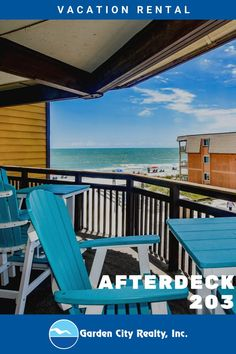 Afterdeck 203 is a two-bedroom, two-bath ocean view condo located 0.5 miles north of Garden City Pier. The owners of have recently replaced the sleeper sofa, loveseat, dining room table and chairs, and master mattress set, as well as other select items throughout the unit.