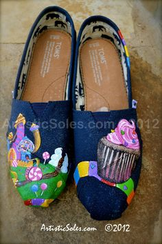 Candy Land II Custom Hand Painted TOMS Shoes by ArtisticSoles, $145.00