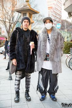 Up-and-coming Harajuku fashion designers Josiah Chua and Takeru (Buccal Cone). Josiah is wearing Issey Miyake, Damir Doma, Rick Owens, and Dr. Martens. Takeru is wearing mostly items from Dog Harajuku, including a shoulder bag by the underground Taiwanese brand DAMAGE. Josiah was featured in our recent Robot Restaurant x Pokemon video.