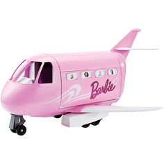The Barbie Glamour Vacation Jet is a pink plane decorated with glittery Barbie doll and sticky labels showing passengers peeping out of the windows. This Barbie jet will allow kids to pretend and play traveling in style. Mattel Barbie, Barbie Y Ken, Barbie Car, Barbie Plane, Pink Barbie, Barbie Stuff, Doll Stuff, Toys R Us, Kids Toys