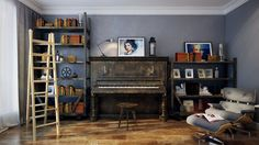 music room - http://www.home-designing.com/2013/12/striking-home-visualizations-by-pavel-vetrov/28-music-room