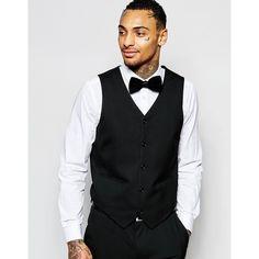ASOS Skinny Vest In Black ($38) ❤ liked on Polyvore featuring men's fashion, men's clothing, men's outerwear, men's vests i black
