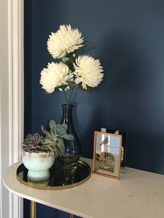 'Hicks Blue' by Little Greene Paint Company Dark Living Rooms, Living Room Sofa, Home Living Room, Living Room Designs, Victorian Hallway, Victorian Living Room, Blue Paint Colors, Wall Paint Colors, Hicks Blue Little Greene