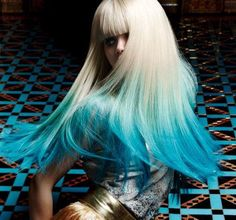 Beautiful turquoise ombre with pale blonde by Dieter Ferschinger for Great Lengths. #hotonbeauty Turquoise Hair Color. fb.com/hotbeautymagazine
