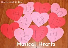 Musical Hearts (play like musical chairs) stop at a heart and identify the number - can also use with math facts, letters, sight words and more
