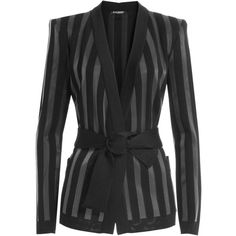 Balmain Striped Knit Cardigan ($1,699) ❤ liked on Polyvore featuring tops, cardigans, black, striped top, striped cardigan, striped knit top, slim fit cardigan and v-neck cardigan