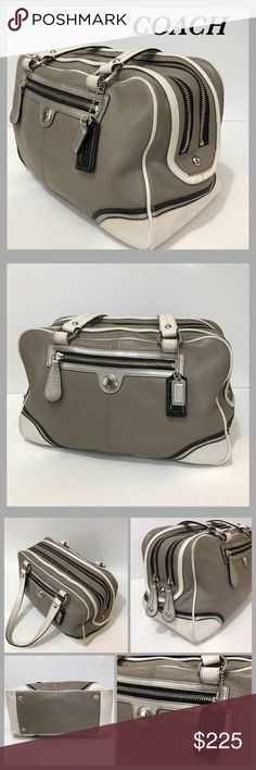 "Coach ""Laura Spectator"" Satchel  Large gray, white and black leather satchel with silver hardware. 2 compartments each zip close. Front zip pocket. Interior is lined with black satin like fabric and has 3 pockets (1 zips). Strap drop is 9"". Excellent used condition! Coach Bags Satchels"