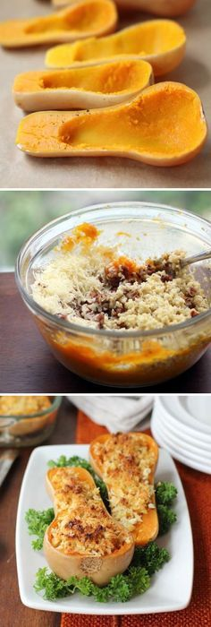 Twice-Baked Butternut Squash with Quinoa, Pecans, and Parmesan-amazing!! Make again!