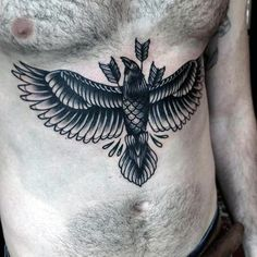 Top 100 Best Stomach Tattoos For Men Masculine Ideas, 101 Badass Tattoos For Men Cool Designs Ideas 2019 Guide. Top 100 Best Stomach Tattoos For Men Masculine Ideas. Crow Tattoo For Men, Bird Tattoo Men, Black Bird Tattoo, Trendy Tattoos, New Tattoos, Tattoos For Guys, Mens Body Tattoos, Abdomen Tattoo, Sternum Tattoo
