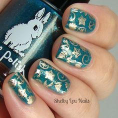 Shelby Lou Nails - Hobby Polish Bloggers Presents: A Beachin' Hump Day HARE - Hare Polish Cabin Fever Fenzy - MoYou London Sailor 05 - Essie Good As Gold