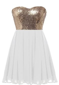 Glitter Fever Dress: Features a mesmerizing sweetheart neckline, glittering gold sequin bodice, centered rear zip closure, and a beautifully gathered A-line skirt to finish.