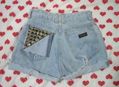 Studded ripped pocket