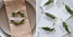Simple and Inexpensive Winter Wedding Decor Ideas:  I like the sprigs of rosemary on the name cards and simple font.