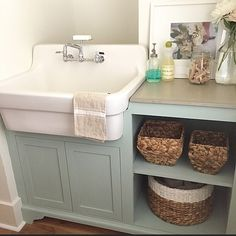Love This Laundry Sink And Green Cabinets