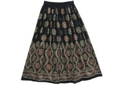 Amazon.com: Black Skirts Gypsy Hippie Boho Bellydance Floral Sequin Beaded Skirts: Clothing