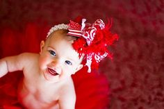Red and White Damask Over The Top Funky by loveablebabyboutique, via Etsy.