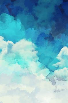 Blue and white watercolor clouds by khaus.  Available in fabric, wallpaper, or gift wrap.
