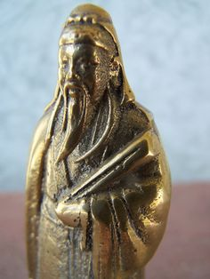 Vintage Brass collectible Figurine of Confucius by papercherries, $18.00