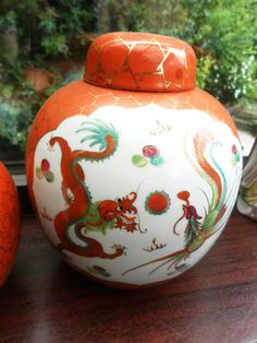 Vintage Beautiful large size chinese ginger jar in orange gold and blues on Etsy, Sold