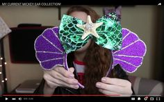 Super adorable Ariel themed Minnie Mouse ears!!!! Link to seller in video's description!