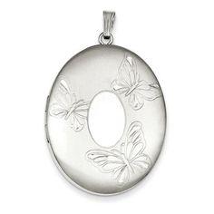 Jewelryweb Sterling Silver 3 Butterflies 34mm Oval Locket