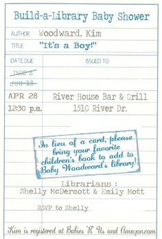 A book-themed baby shower invitation