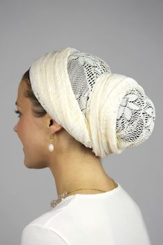Cream Picnic Rectangular Scarf - like this style, Regal Chignon they call it.