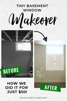 Learn how to make your tiny basement window look larger with this simple hack. This DIY window treatment will make you forget you are in a basement! Ready to live a rich life on a DIY budget? Get more tips, ideas and tutorials at frugalfamilytimes. Small Basements, Basement Ceiling, Basement Decor, Diy Window Treatments, Home Remodeling, Basement Window Treatments, Home Renovation, Home Improvement Contractors, Basement Windows