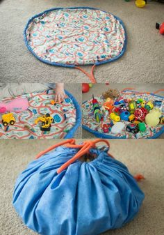 DIY Toy/Lego Bag and Playmat - Kindergarten-Inspiration - Baby Diy Sewing For Kids, Diy For Kids, Diy Toys For Babies, Baby Diy Toys, Diy Toys For Toddlers, Homemade Baby Toys, Sewing Hacks, Sewing Crafts, Sewing Tips