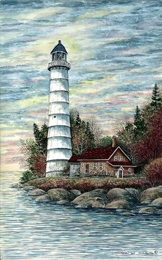 Lighthouse Painting - Cana Island Light by Steven W Schultz Art Aquarelle, Watercolor Paintings, Lighthouse Painting, Lighthouse Pictures, Beacon Of Light, Wow Art, Island Lighting, Light Painting, Painted Rocks