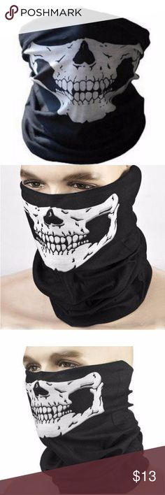White Half Face Skull Tube Mask Slim design skull mask; 100% Breathable Microfiber Polyester; Lightweight, breathable. Multi function: A bandana, scarf, beanie, headband, wristband, helmet-liner, muffler, neck gaiter, dust screen or hair band. Wind Resistant; Keeps you warm in Winter and reduces humidity in Summer.   Boutique items come NWOT direct from makers   Tags. Skulls. Riding. Bikers. Masks. Halloween. Goth. Punk . rave . festival. Mask.spooky.creepy.bones. Accessories