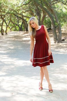 COQUETTE PORT - Cranberry burgundy red dress with pockets / flared circle skirt // ivory crochet / bridesmaid // vintage inspired / holiday on Etsy, $68.00
