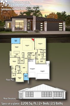 House Plan 370025SEN gives you 2,000+ square feet of living space with 2+ bedrooms and 2.5 baths. AD House Plan #370025SEN #adhouseplans #architecturaldesigns #houseplans #homeplans #floorplans #homeplan #floorplan #houseplan Dream House Plans, Modern House Plans, Open Space Living, Living Spaces, Plumbing Drawing, Electrical Plan, Building Section, Roof Detail, One Story Homes