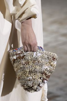 Daniela Gregis at Milan Fashion Week Spring 2020 - Details Runway Photos Crochet Lace Edging, Freeform Crochet, Fiber Art Jewelry, Lace Tape, Yarn Bag, Knit Basket, Crochet Handbags, Crochet Bags, Carpet Bag