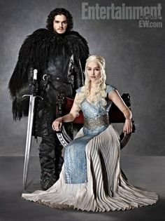 Game of Thrones (series 2011 - ) Starring: Kit Harington as Jon Snow and Emilia Clarke as Daenerys Targaryen.