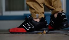 "New Balance 574 ""All Black Red Toe"""