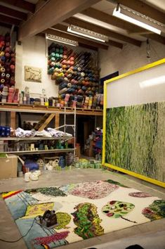 Atelier with tapestries from a design of Pjeroo Roobjee & Michel Buylenbr