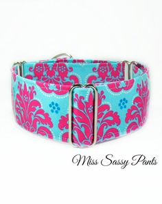 A beautiful pink and teal damask martingale dog collar, fit for a regal, yet fun hound. By Collar Town. Dumb Dogs, Martingale Dog Collar, Italian Greyhound, Greyhounds, Whippet, Dog Collars, New Puppy, Dog Accessories, Dog Care