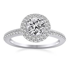 3/4ct Round Cut VVS1 Diamond Platinum Clad Solitaire w/Accents Engagement Ring #affinityengagementjewels #SolitairewithAccents #(I-CSR11215-CZ)