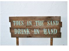 Beach Wedding Sign Toes in the Sand Wood by AshleyFrenchDesigns