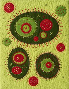 "Space Spores in Search of the Perfect Martini  by Victoria Gertenbach (BooDilly's)    8"" x 11"" Embroidered mini art quilt.  Inspired by those quirky green olives, with the mysterious red pimentos."
