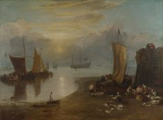 J.M.W. Turner ~ Zonsopgang in de nevel: visverkopers ~ voor 1807 ~ Olieverf op doek ~ 134 x 179,5 cm. ~ The National Gallery, Londen
